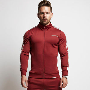 Burgundy Cotton Fitted Striped Jogger Jacket