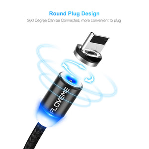 LED Magnetic Lightning Cable For iPhone, Charger Micro USB For Samsung Galaxy S8 S9  and Type C Cable.
