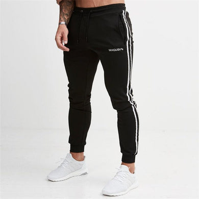 Black Cotton Fitted Striped Jogger Pants