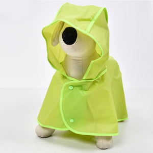 Soft Waterproof Puppy Rain Coat With Adjustable Hat Brim