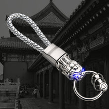 Lucky Dragon Luxury Keychain with LED and Hand Braided Leather Cord.