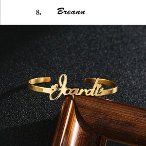 Personalized Script Name Cuff Bracelet in Stainless Steel Gold Plated