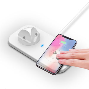 3 in 1 Mobile Phone Holder Wireless and USB Charger For iPhone and Android Devices. - Koteli