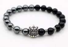 Antique Silver Pi Xiu Head Bracelet with Hematite & Onyx - Koteli
