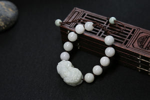 Good Luck Feng Shui Wealth Porsperity Bracelet 12mm Bead with Pi Xiu / Pi Yao Natural Stone Bracelet - Koteli