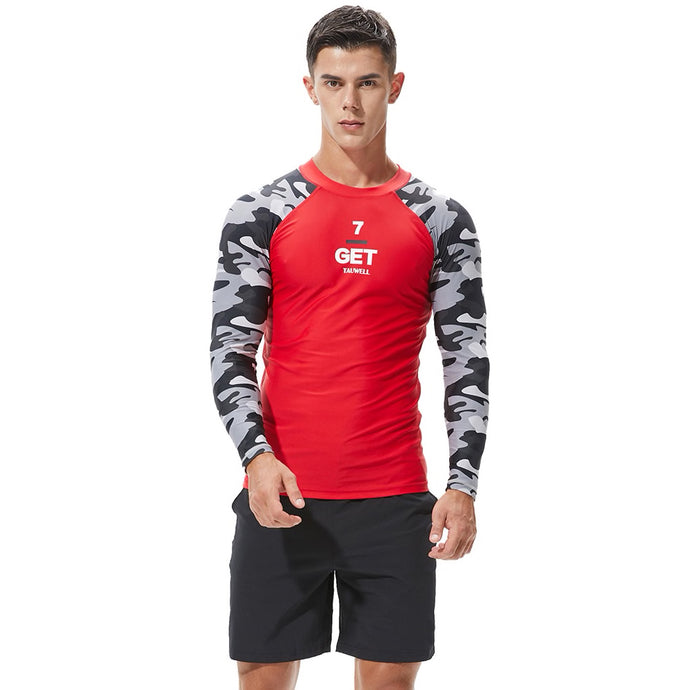 Camouflage Men's Long Sleeve Shirt in Red