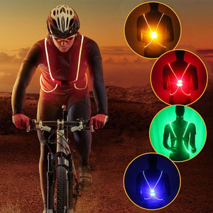 LED Vest Belt 3 Modes LED Lights Adjustable Safety Gear Sports Night Running Cycling Vest