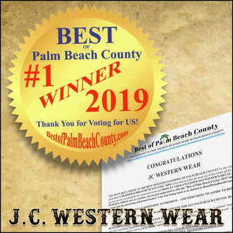 Winner of THE BEST WESTERN CLOTHING of Palm Beach County 2019