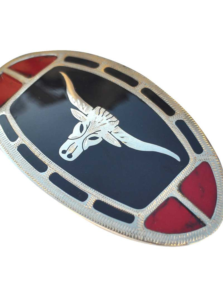Johnson & Held Nickle Silver Longhorn Handcrafted Belt Buckle - J.C. Western® Wear