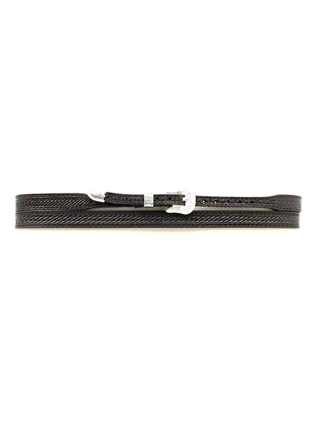 "Twister 1/2"" Basketweave Tooling Genuine Leather Hatband 0234601 (Black"