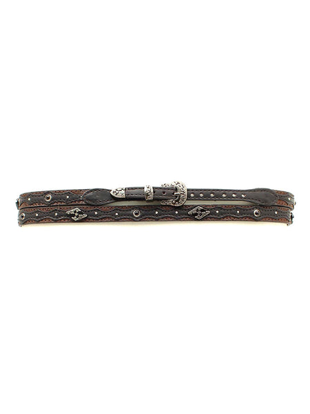 "Twister 02508107 3/8"" Genuine Leather Two Tone Hatband on display"