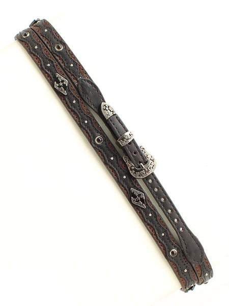 "Twister 02508107 3/8"" Genuine Leather Two Tone Hatband close up"