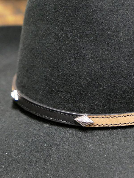 Twister 2 Tone Diamond Conchos Leather Hat Band 02678107 Front