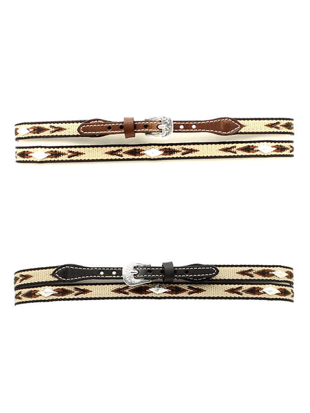 "Twister 1/2"" Embroidered with Diamond Conchos Leather Hatband 0277401 0277402 Black and Brown"