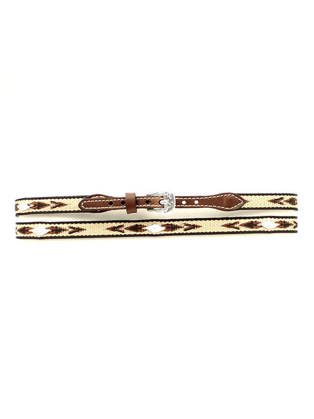 "Twister 1/2"" Embroidered with Diamond Conchos Leather Hatband  0277402 Brown"