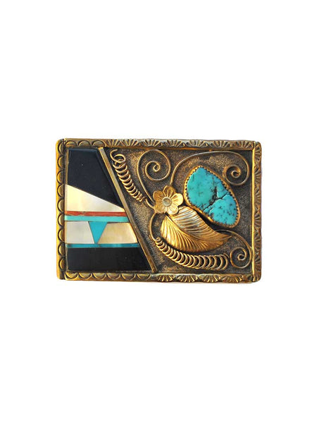E King Sterling Silver Gold Leaf Turquoise Stone Handcrafted Belt Buckle