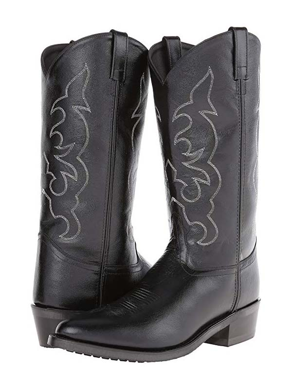 Old West Mens Black Narrow Round Toe Western Boot TBM3010