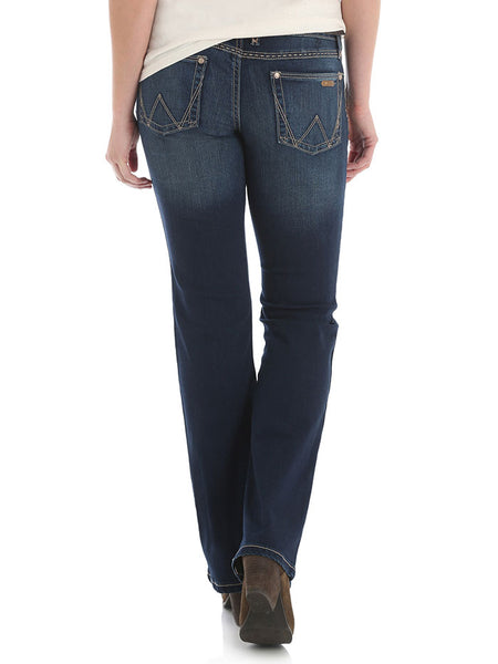 Wrangler 09MWZHT Womens Retro Mae Mid-Rise Boot Cut Jeans Back Full