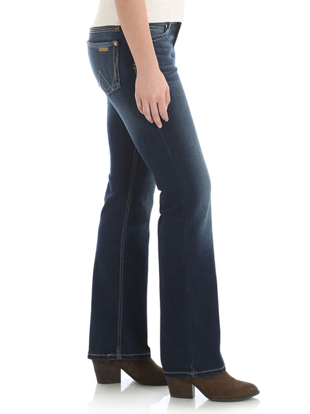 Wrangler 09MWZHT Womens Retro Mae Mid-Rise Boot Cut Jeans Side Full