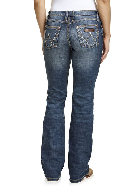 Wrangler 09MWZMS Womens Retro Mae Mid-Rise Bootcut Jeans Dark Wash Back Full