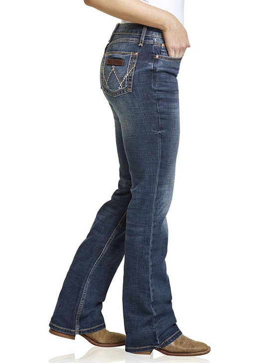 Wrangler 09MWZMS Womens Retro Mae Mid-Rise Bootcut Jeans Dark Wash Side Full