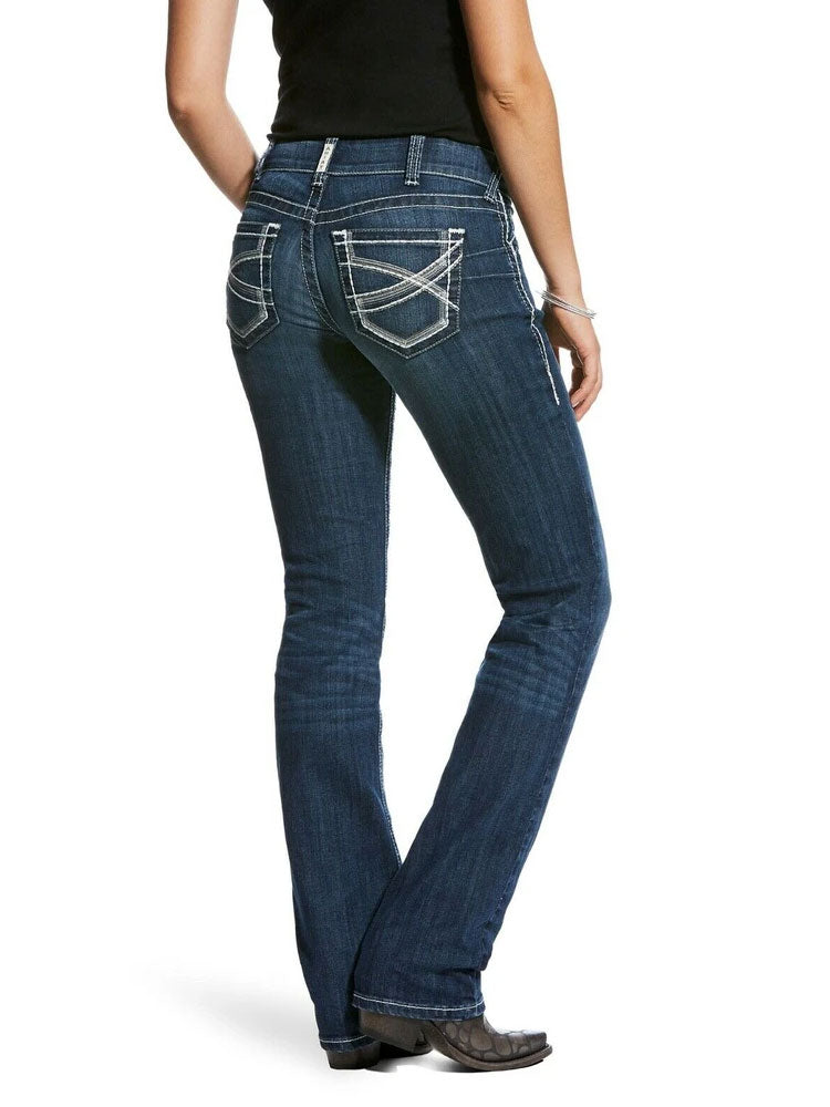 Ariat 110028920 Womens REAL Mid Rise Stretch Ivy Straight Leg Jeans Dark Wash Back View