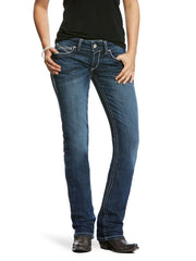 Ariat 110028920 Womens REAL Mid Rise Stretch Ivy Straight Leg Jeans Dark Wash Front View