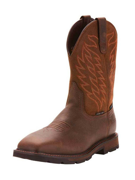 Ariat 10024992 Mens Groundbreaker H2O Steel Toe Work Boot Brown