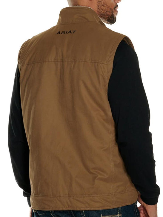 Ariat 10028416 Mens Grizzly Canvas Vest Cub Brown Back View