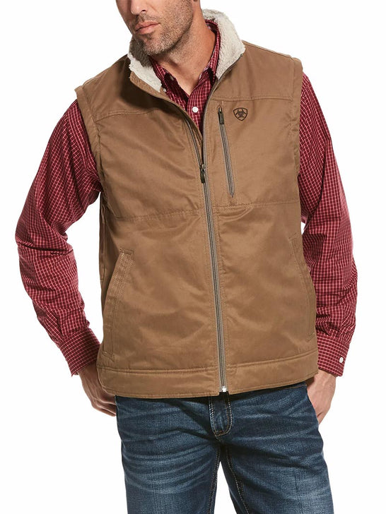 Ariat 10028416 Mens Grizzly Concealed Carry Canvas Vest Cub Brown Front View