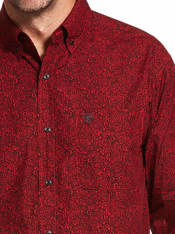 Ariat 10028818 Mens Dalanzo Classic Long Sleeve Shirt Cranberry Red