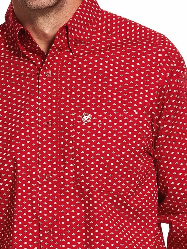 Ariat 10028824 Mens Danton Classic Long Sleeve Shirt Cranberry Cream Red