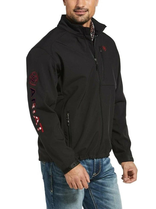 Ariat 10032935 Men's Logo 2.0 Softshell Jacket Black & Black Americana Front View