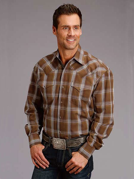 Stetson 1022BR Mens Clay Long Sleeve Plaid Snap Shirt Brown