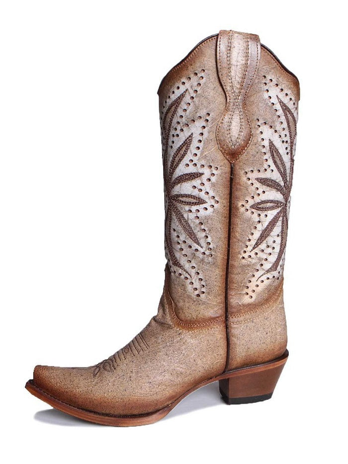 Circle G L2002 Women's Laser Embroidery Square Toe Boots Straw Front Side View