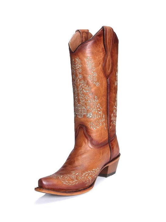 Circle G L2003 Women's Turquoise Flower Embroidery Square Toe Boots Honey Tan Front Side View