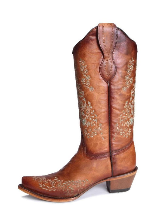 Circle G L2003 Women's Turquoise Flower Embroidery Square Toe Boots Honey Tan Side View