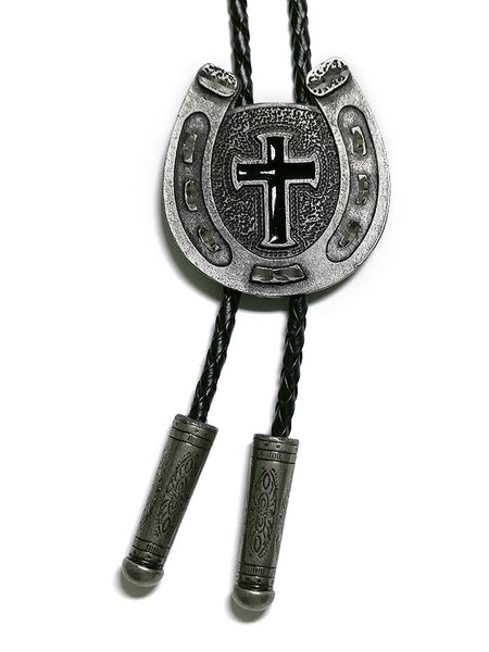 Austin Accent 1148 Horse shoe Cross Western Bolo Tie on Display