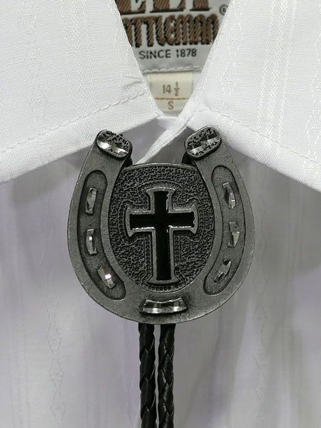 Austin Accent 1148 Horse shoe Cross Western Bolo Tie on a shirt