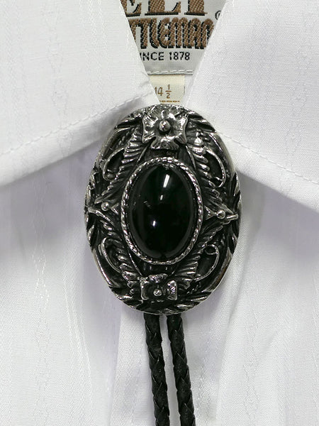 Austin Accent 1138B Black Oval Western Bolo Tie on a shirt
