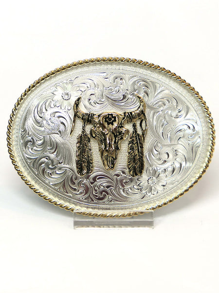 Montana Silversmiths 1350 Bull Skull with Feather Belt Buckle front USA