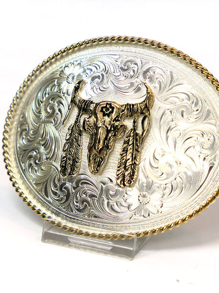Montana Silversmiths 1350 Bull Skull with Feather Belt Buckle close up