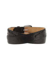 Tony Lama Mens Ostrich Print Dress Belt 1373L Black