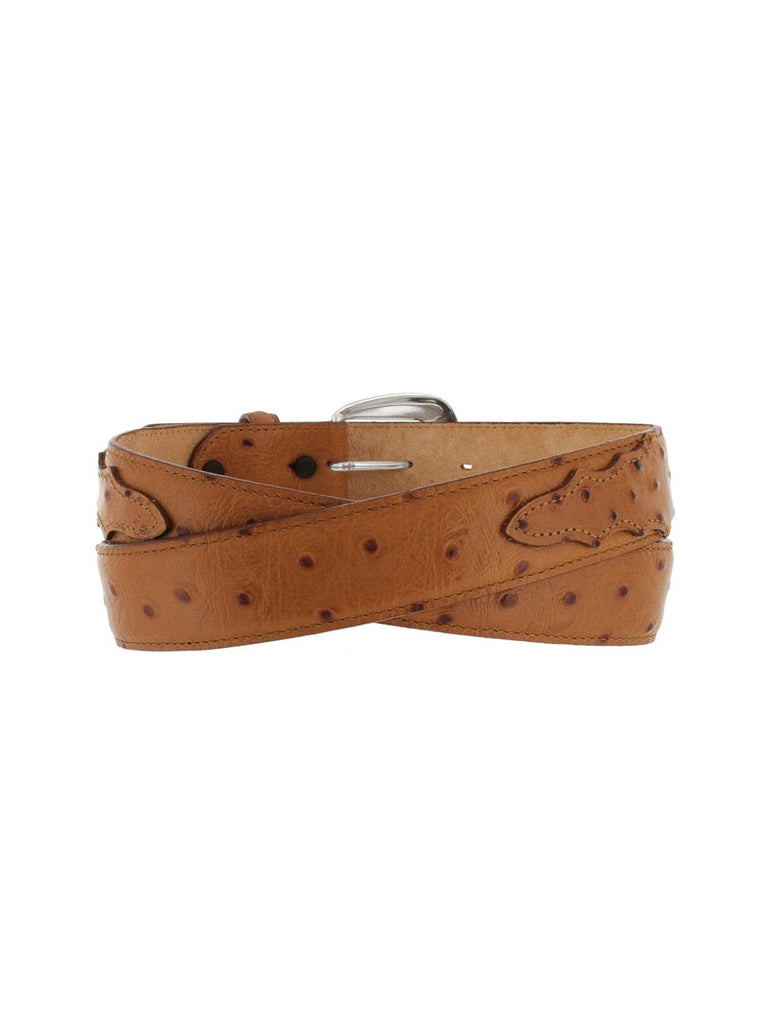 Tony Lama 1377L Mens Ostrich Print Dress Belt Peanut front