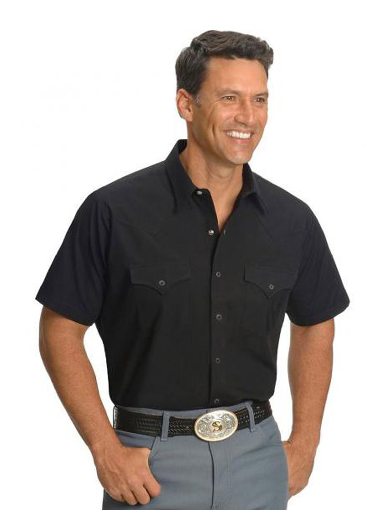 Ely Cattleman Short Sleeve Solid Black Western Shirt 15201605-89