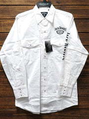 Ely Cattleman 15225006JD-01 Mens Jack Daniel's Long Sleeve White Western Shirt