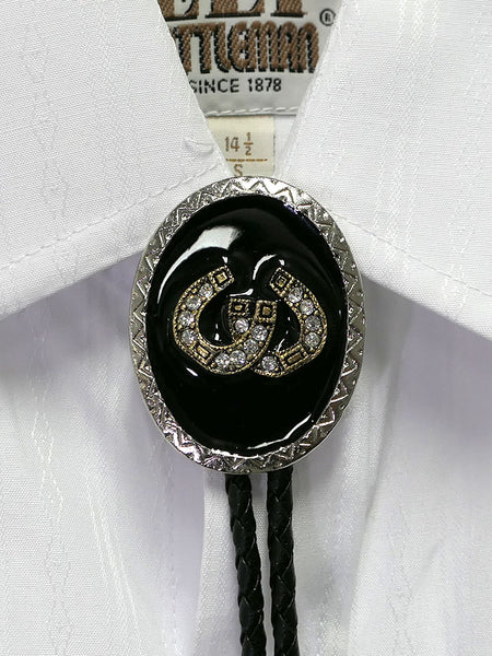 Austin Accent 1708S Crystal Gold Horseshoe Oval Western Bolo Tie on shirt