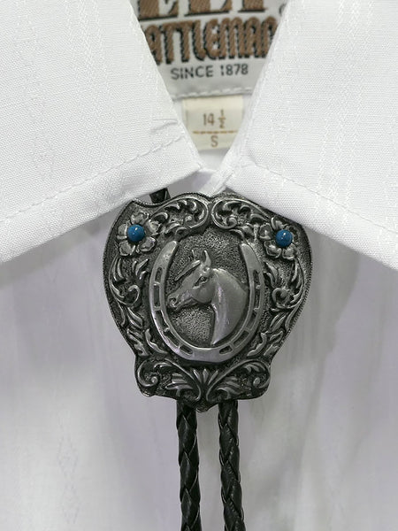 Austin Accent 1750 Horse Shield Western Bolo Tie on a shirt