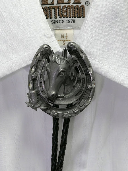 Austin Accent 1758 Horse shoe Western Bolo Tie on a shirt