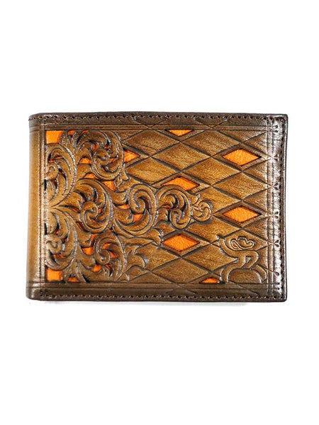 HOOey Western Mens Wallet Bifold Roughy Diamond Tooled Orange Inlay 1831161W1